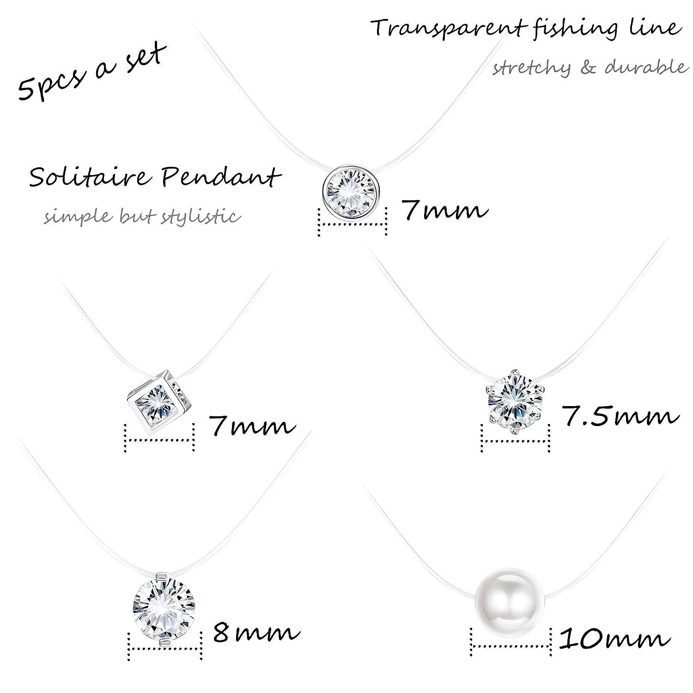 Fil Nylon Transparent Milacolato Pendentif Collier Fil Magique pour Femme Fille V/éritable Oxyde de /él/égant Solitaire Zirconium et Perle
