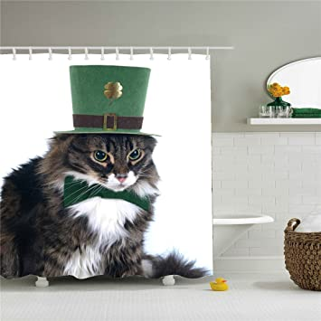 Image Unavailable Not Available For Color Cat On Green Hat Shower Curtain