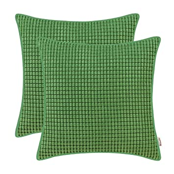 """Forest Green Velvet Cushion Cover Pillow Case with Piped Edges Zip 18/"""" x 18/"""""""