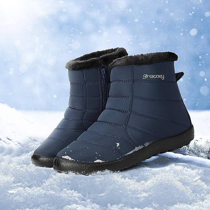 gracosy Stivaletti Neve Donna Pelle Foderata Inverno Caldo