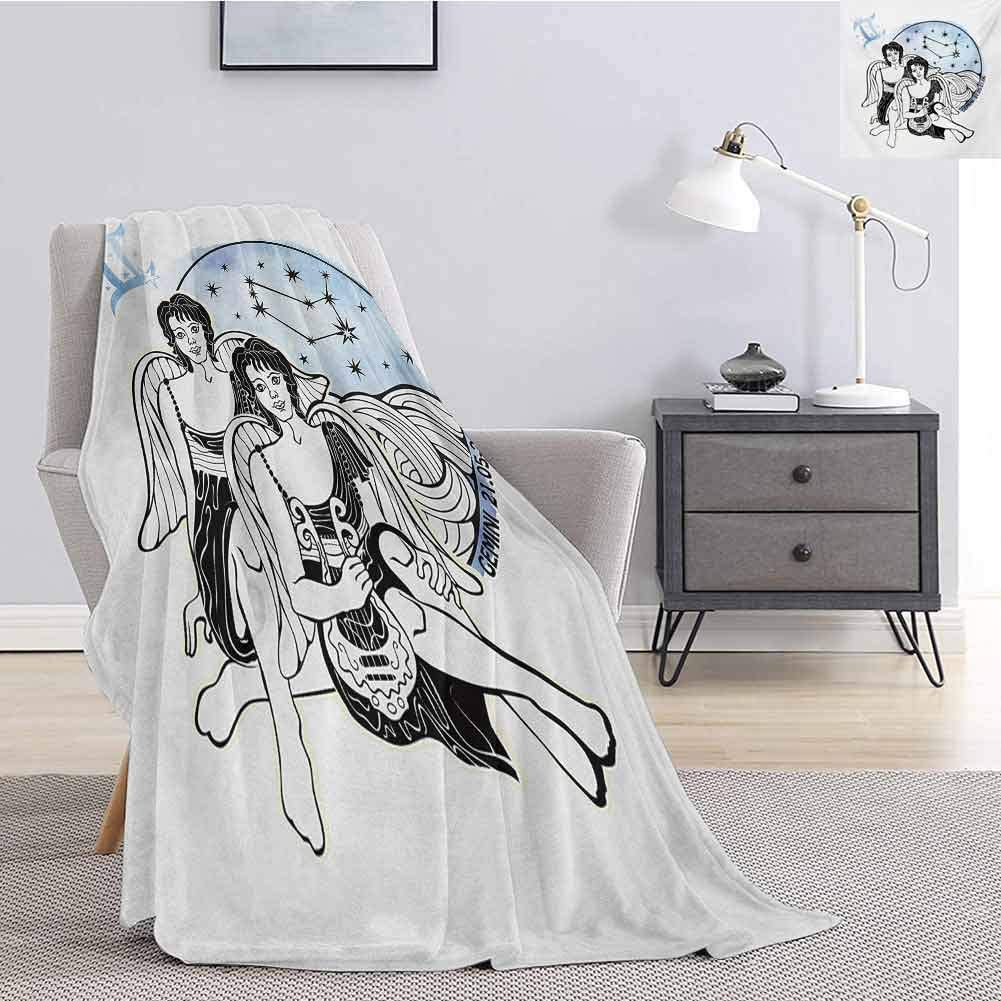 Luoiaax Zodiac Gemini Comfortable Large Blanket Watercolor Backdrop and Constellation with The Twins and Harp Microfiber Blanket Bed Sofa or Travel W60 x L50 Inch Pale Blue Black and White