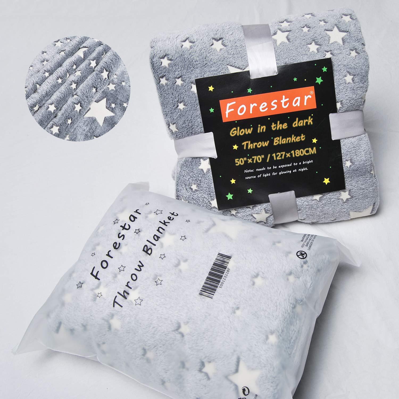 Forestar Glow in The Dark Throw Blanket, Birthday Gift for Kids Boys Girls Toddlers, Premium Super Soft Fuzzy Fluffy Plush Furry Throw Blanket (50'' x 70'' Gray) by Forestar (Image #9)