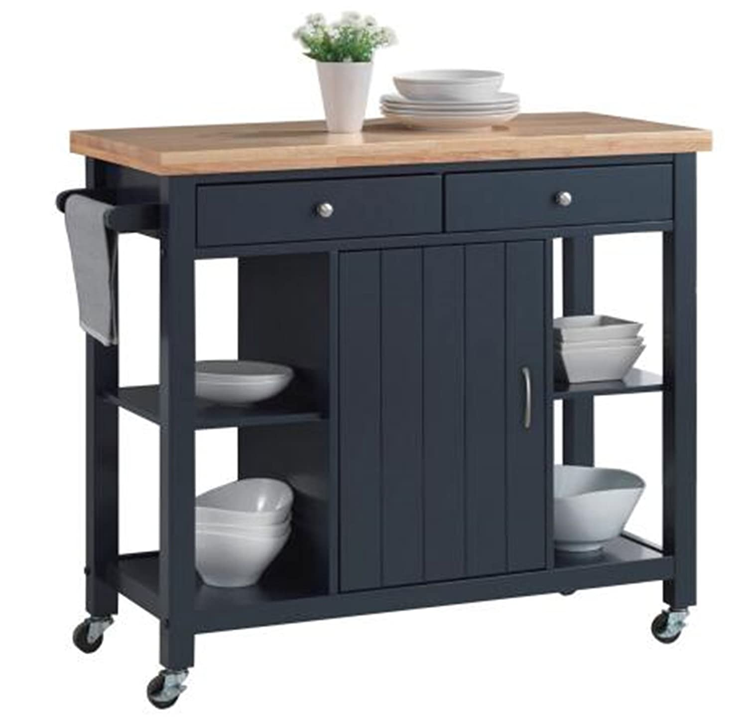 Oliver And Smith   Nashville Collection   Large Mobile Kitchen Island Cart  On Wheels   Navy
