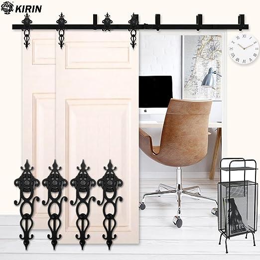 Kirin decoración de hogar armario puerta Hardware 6 pies de doble puertas correderas riel para puerta de madera: Amazon.es: Bricolaje y herramientas