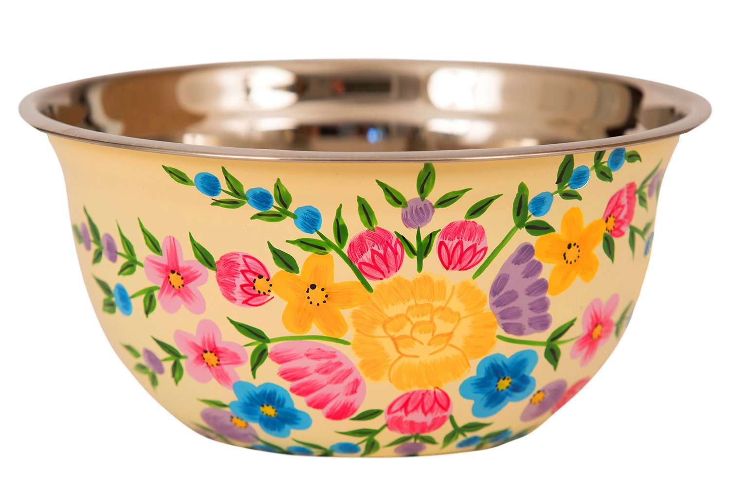 Hand Painted Stainless Steel Bowl – Large Salad Bowl, Fruit Bowl, Mixing Bowl, Decorative, Handmade Floral Art Bowl for Serving and Home Decor, 10 Inch Diameter, 3.8 quart Volume.