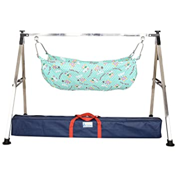 indian style folding stainless steel ghodiyu  baby cradle  with cotton hammock buy indian style folding stainless steel ghodiyu  baby cradle      rh   amazon in