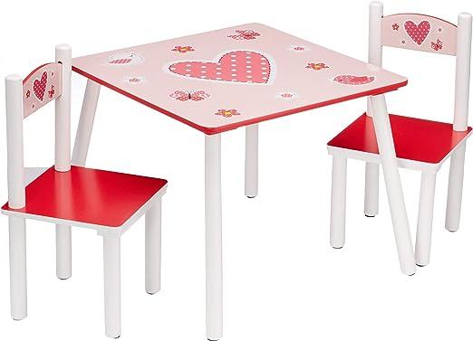 Kesper 17722 1 - Mesa Infantil con 2 sillas y Dibujos de Corazones ...