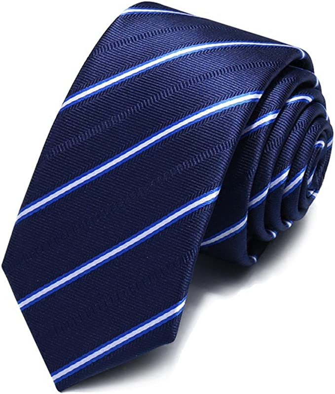 HXCMAN 5.5cm azul blanco rayas estrecho corbata diseño clásico 100 ...