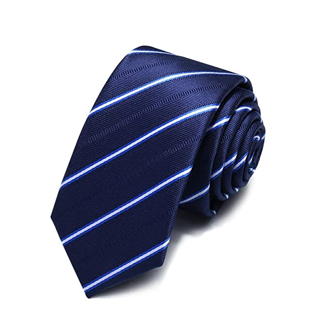 87c8b860d HXCMAN 5.5cm azul blanco rayas estrecho corbata diseño clásico 100% seda  hombres corbata partido de todos negocios noche boda novio en caja de  regalo  ...
