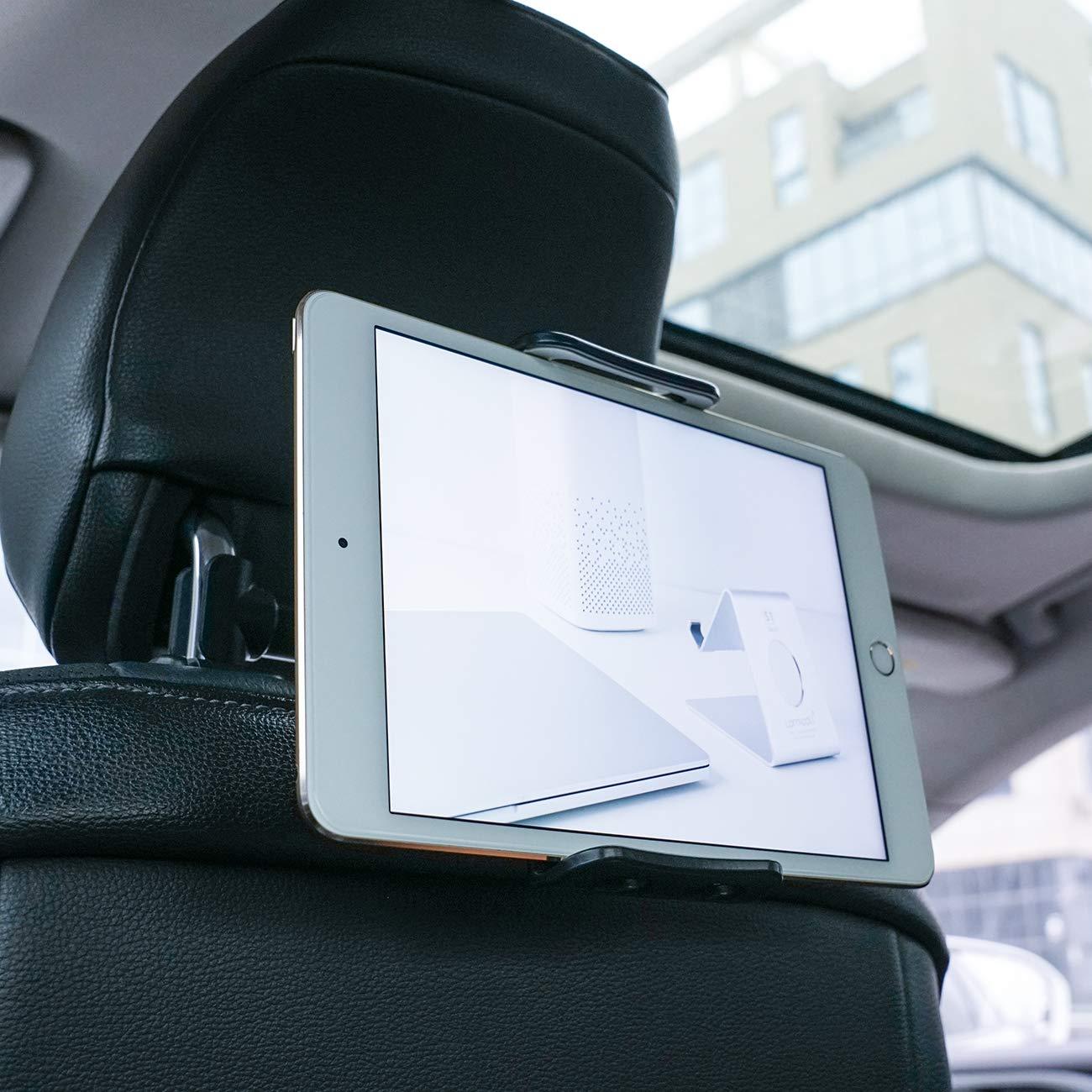 Lamicall Tablet Halterung Auto, Universal Tablet Halterung : KFZ-Kopfstü tzen Halterung fü r Pad Air Mini 2 3 4, Pad 2018 Pro 9.7, 10.5, Tab, E-Reader, Smartphone und Tablet mit 4.4~11 Zoll - Schwarz P-EU-BB