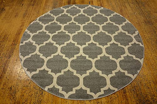 Unique Loom Trellis Collection Moroccan Lattice Dark Gray Round Rug 6 0 x 6 0