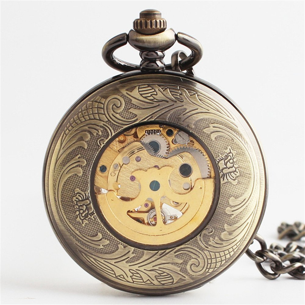 Zxcvlina Classic Smooth Exquisite Bronze Retro Pocket Watch Boutique Carved Unisex Mechanical Pocket Watch with Chain Suitable for Gift Giving by Zxcvlina (Image #2)
