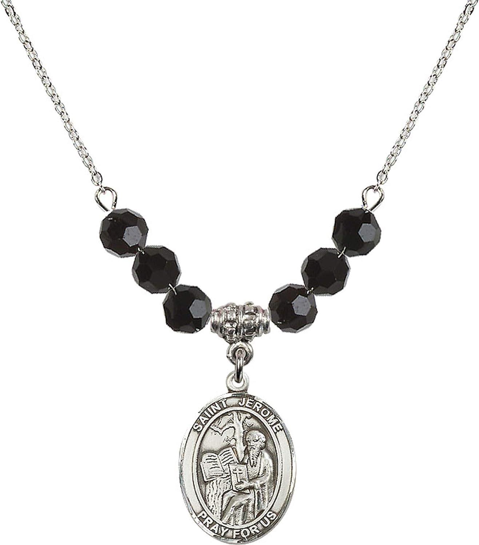 Bonyak Jewelry 18 Inch Rhodium Plated Necklace w// 6mm Jet Birth Month Stone Beads and Saint Jerome Charm