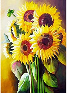 Leaflai DIY 5D Diamond Painting Sunflower Kits for Adults Full Round Drill(12x16inch/30x41cm), Paintings Embroidery Pictures Arts Craft for Home Wall Decor,5D Painting Dots Kits Landscape (Sunflower)