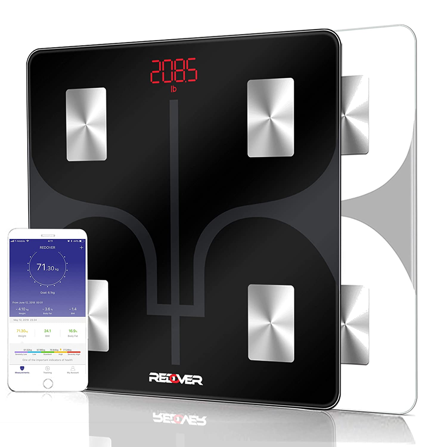 REDOVER-Bluetooth Body Fat Scale with Free iOS Android App, Smart Wireless Digital Bathroom Scale, Body Composition Analyzer for Body Weight, Body Fat, Muscle Mass, BMI, BMR and More, 400lb Black