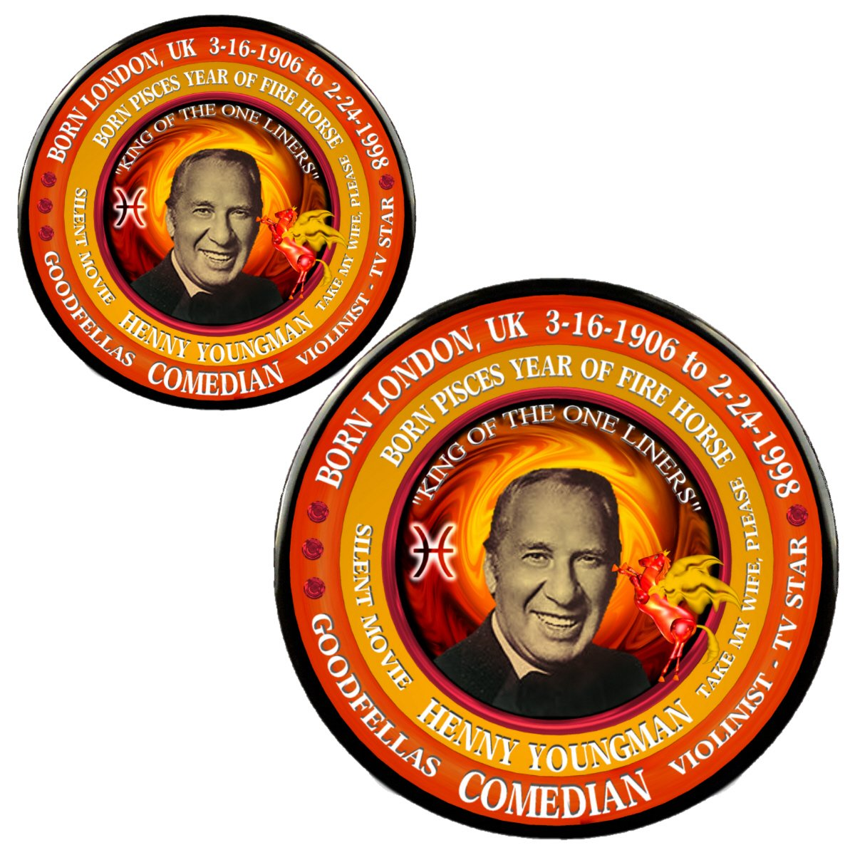 Amazon com: Henny Youngman Magnet + Pin, Born Astrology Pisces