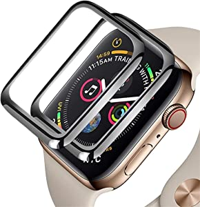 avedio links 2 Pack 3D Curved Tempered Screen Protector with Full Coverage 9H Hardness HD Clear Anti-Bubble for Apple Watch (Series 3, 38mm)