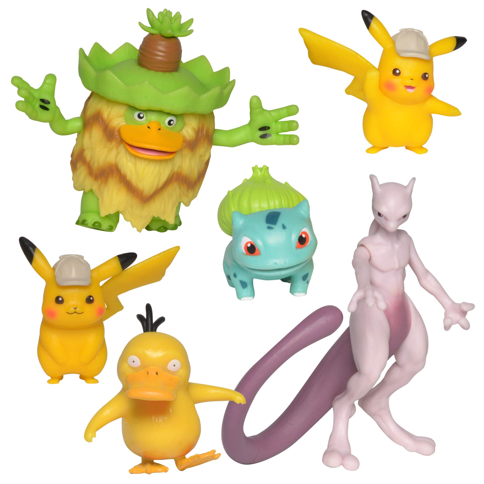 Detective Pikachu Battle Action Figure 6-Pack - Includes two 2'' Detective Pikachu Figures, 2'' Psyduck, 2'' Bulbasaur, 3'' Mewtwo, and 3'' Ludicolo