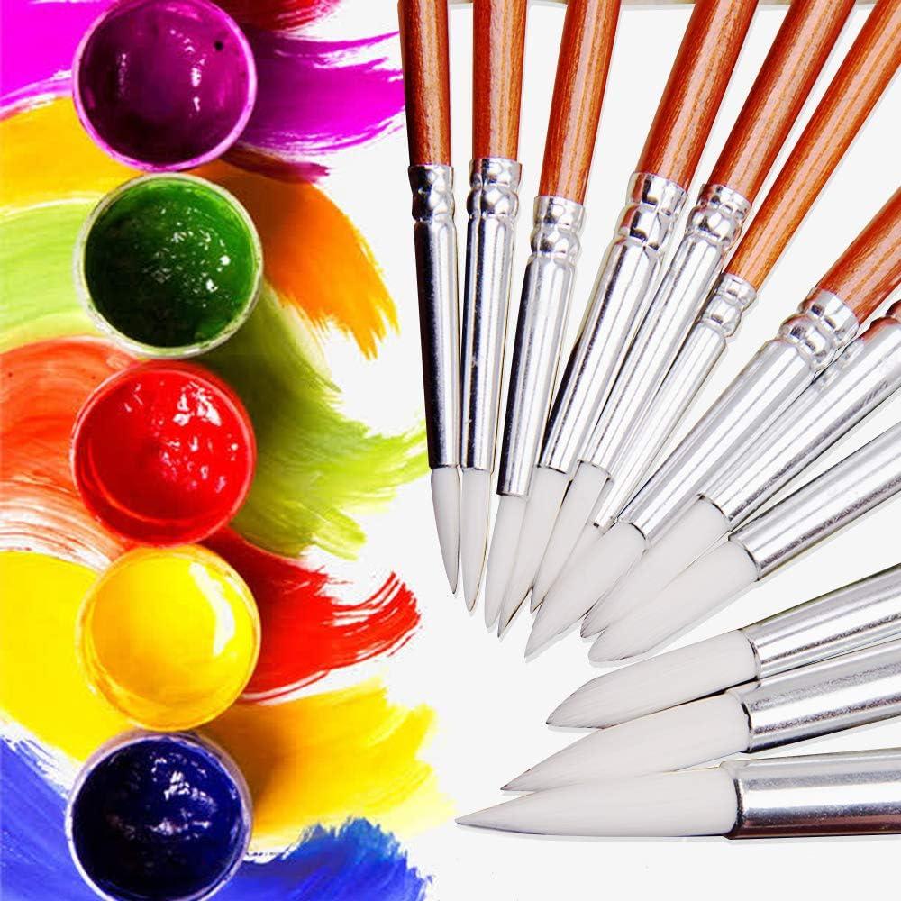 Set de pinceaux de peinture 12pcs pinceau de peinture fine pour peinture /à lhuile aquarelle acrylique.