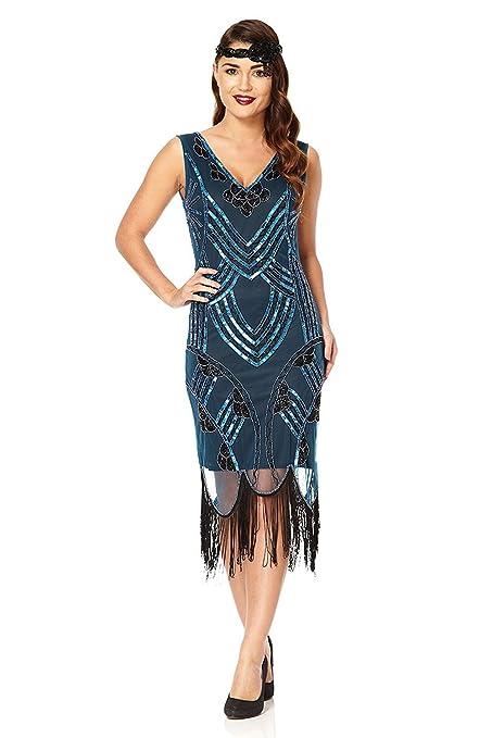 Juliet Vintage Inspired Fringe Dress in Teal Black (US6 EU38):  Amazon.co.uk: Clothing