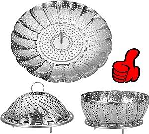Vegetable Steamer Basket, Stainless Steel Folding Steamer Basket Insert for Veggie Fish Seafood Cooking, 100% Stainless Steel Steamer Insert expandable to Fit Various Size Pot(6