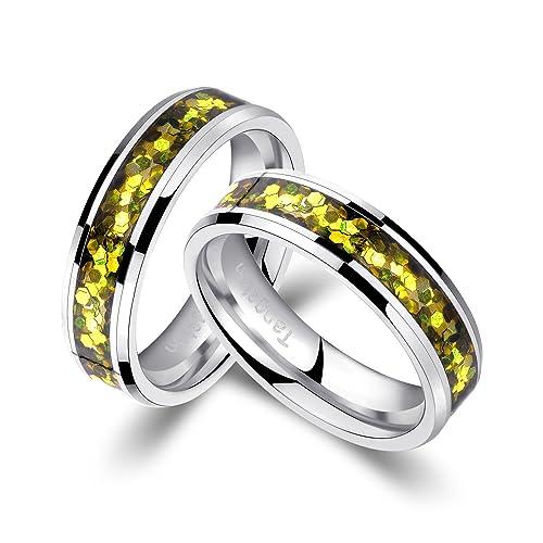 alianzas Partner anillos de compromiso Anillos Trau Amistad Anillos de tungsteno con Shell/Laser grabado