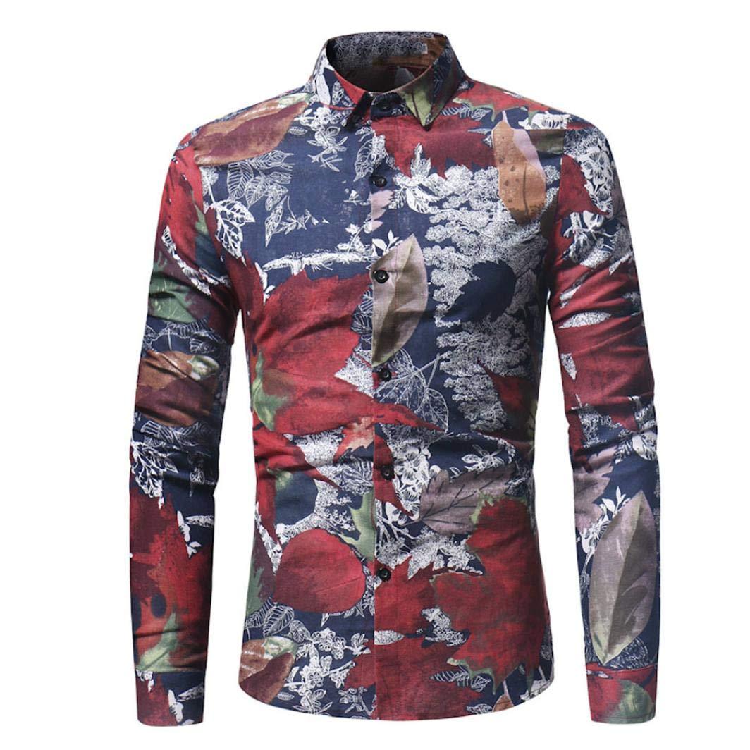 Men Floral Shirts Maple Leaf Printed Slim Autumn Dress Button Shirts Tops Zulmaliu(M-3XL) (Red, L)