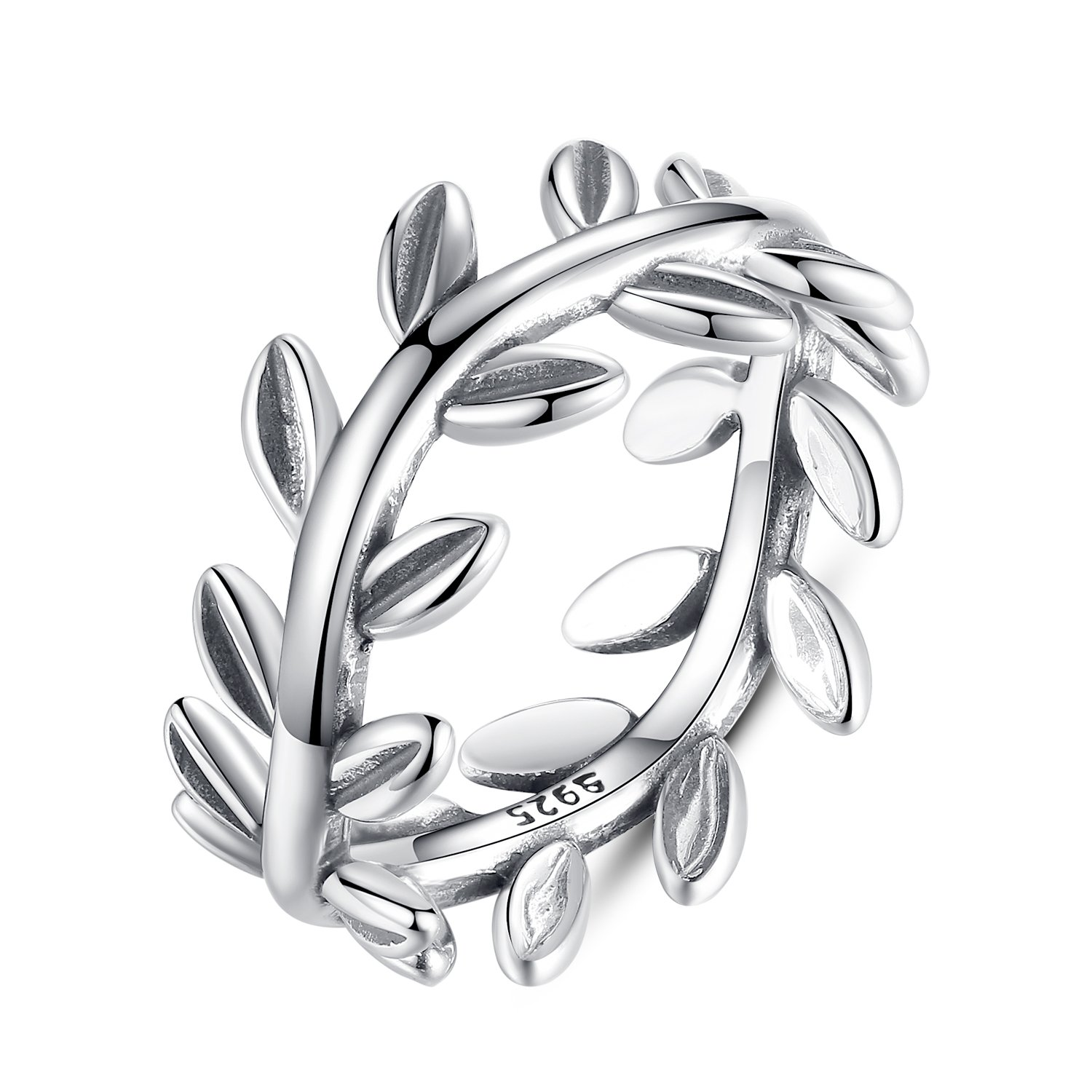 BAMOER 925 Sterling Silver lucky Collection Laurel Wreath Olive Leaves Promise Ring Design for Women Mother's Day Gifts Size 7-8 (8)