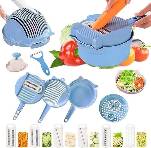 Azul Cortador de vegetales 15 en 1 multifuncional Mandolina con 6 cuchillas intercambiables de acero inoxidable Cesta de escurridor con separador de yema huevo Guardia de mano Verduras picadoras