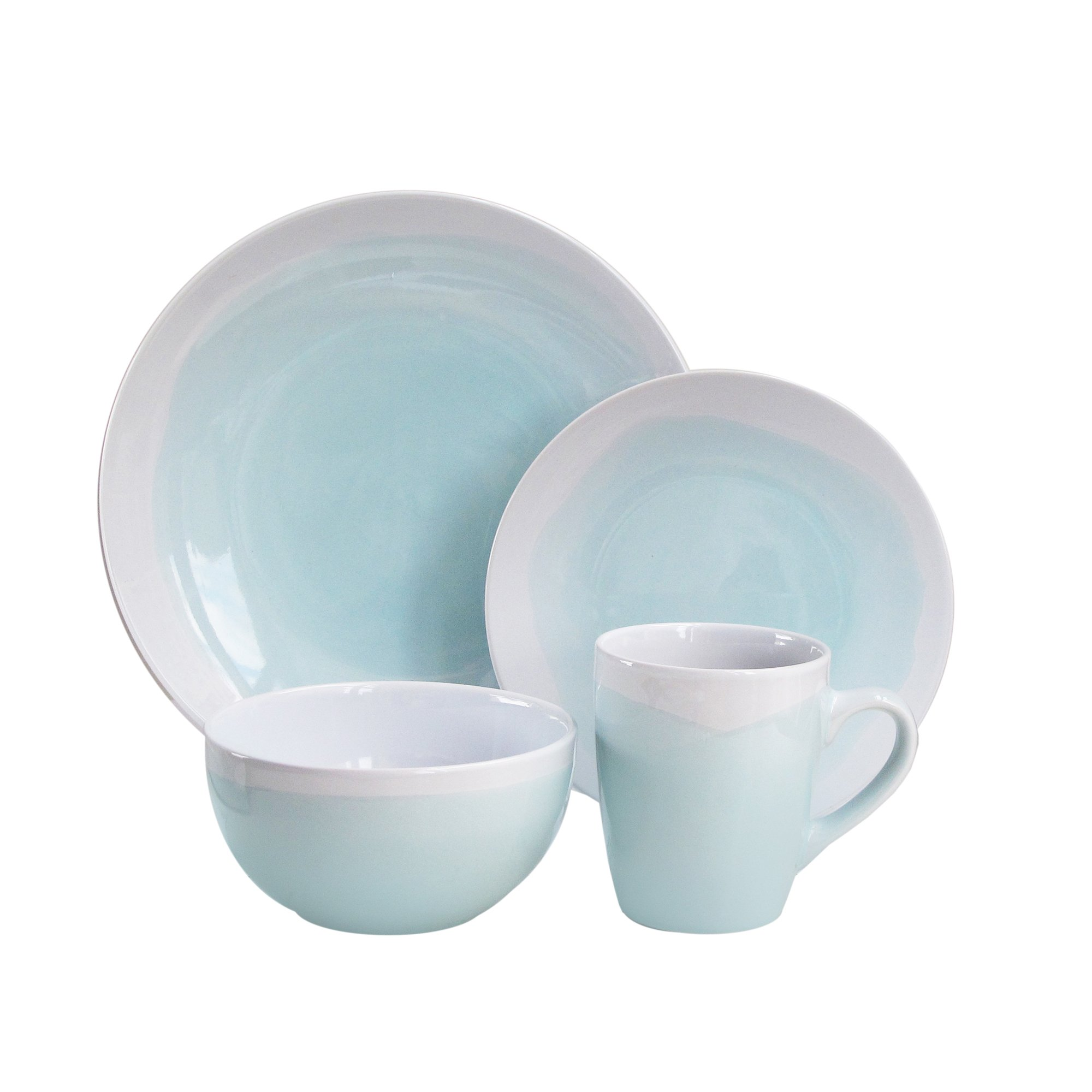 American Atelier 6692-16-RB Oasis Dinnerware Set (16 Piece), Mint/White