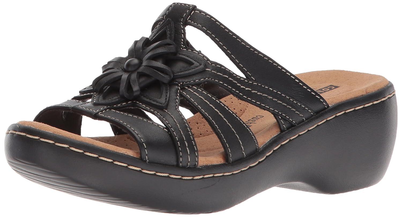 Black Leather Clarks Womens Delana Venna Platform & Wedge Sandals