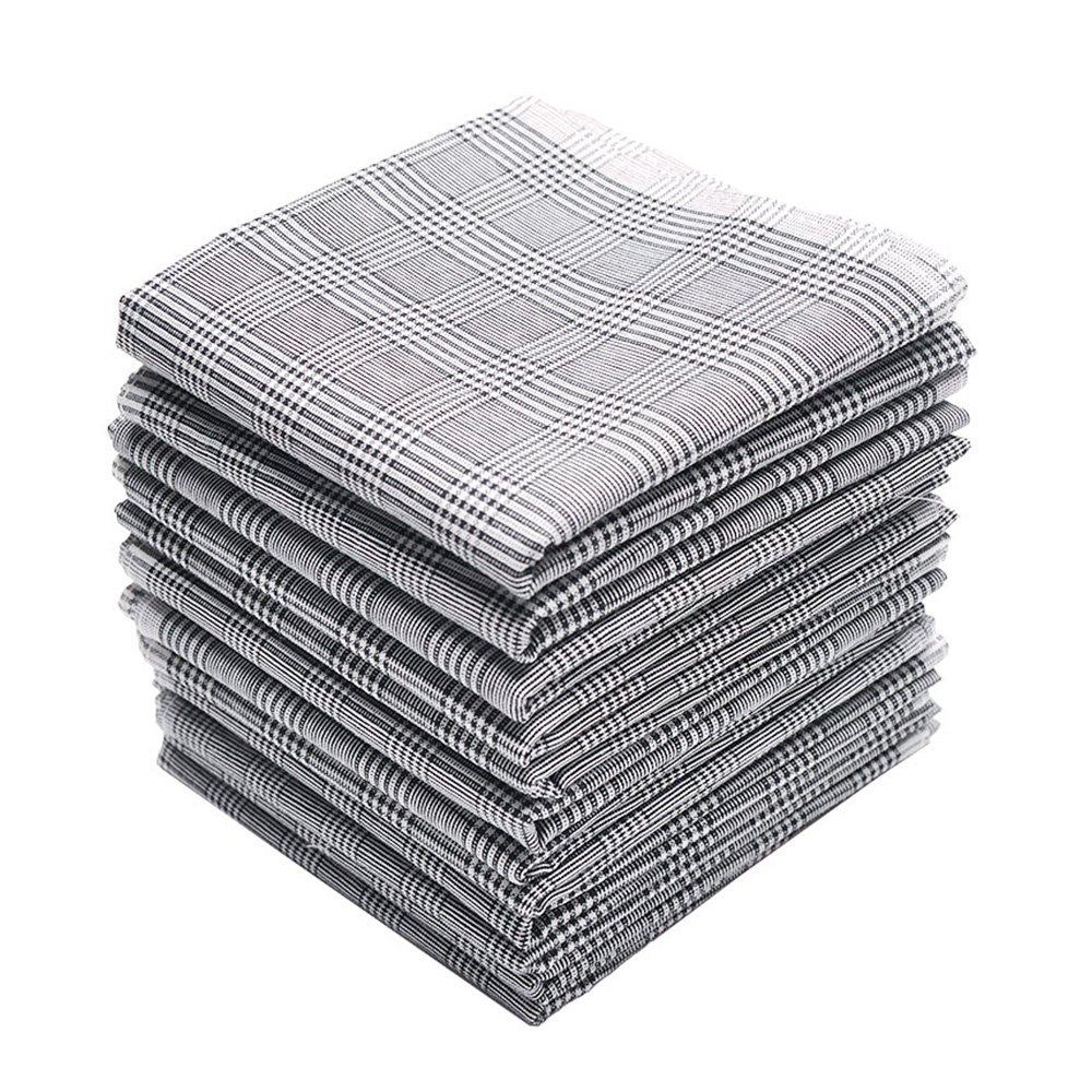 Neatpal 100% Cotton Men's Handkerchiefs Check Pattern 12 Pieces Hankies