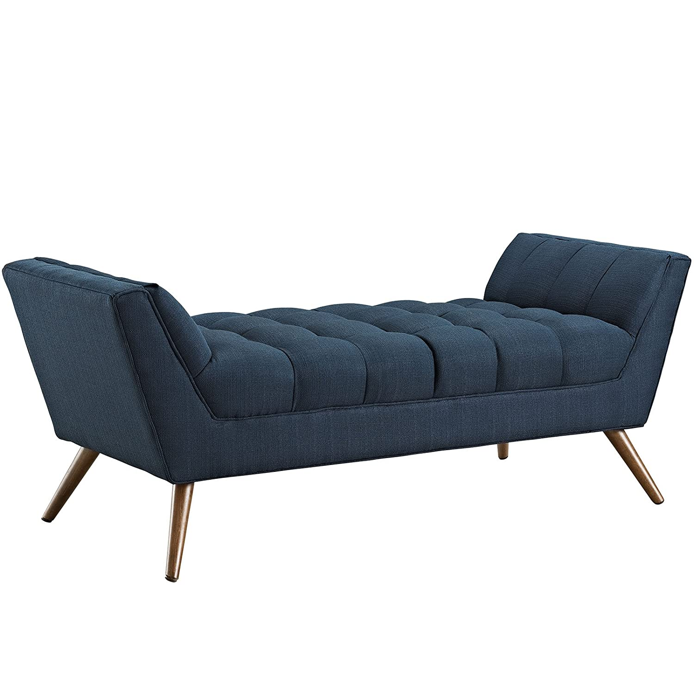 . Modway Response Mid Century Modern Bench Medium Upholstered Fabric in Azure