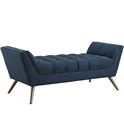 Modway Response Mid Century Modern Bench Medium Upholstered Fabric In Azure