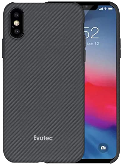 the latest 45d1b 84779 Evutec Karbon SP Case Cover Compatible with iPhone Xs Max, Aramid Fiber  Karbon Strong Protective Slim 0.7mm Durable Strong Snap-on Black/Gray