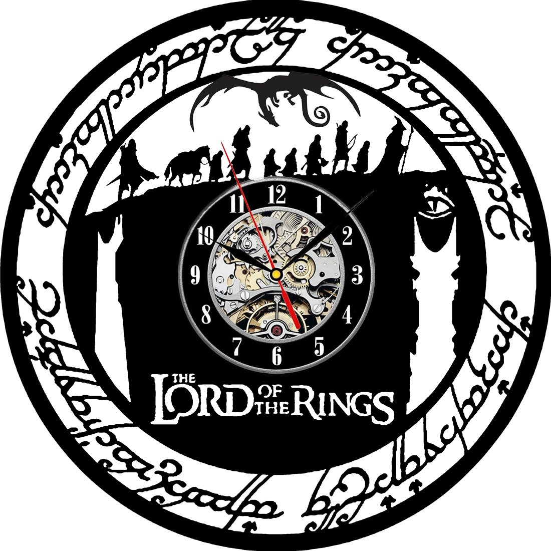 The Lord of The Rings Gift Vinyl Record Wall Clock Fan Black Room Idea VinylWorkshop