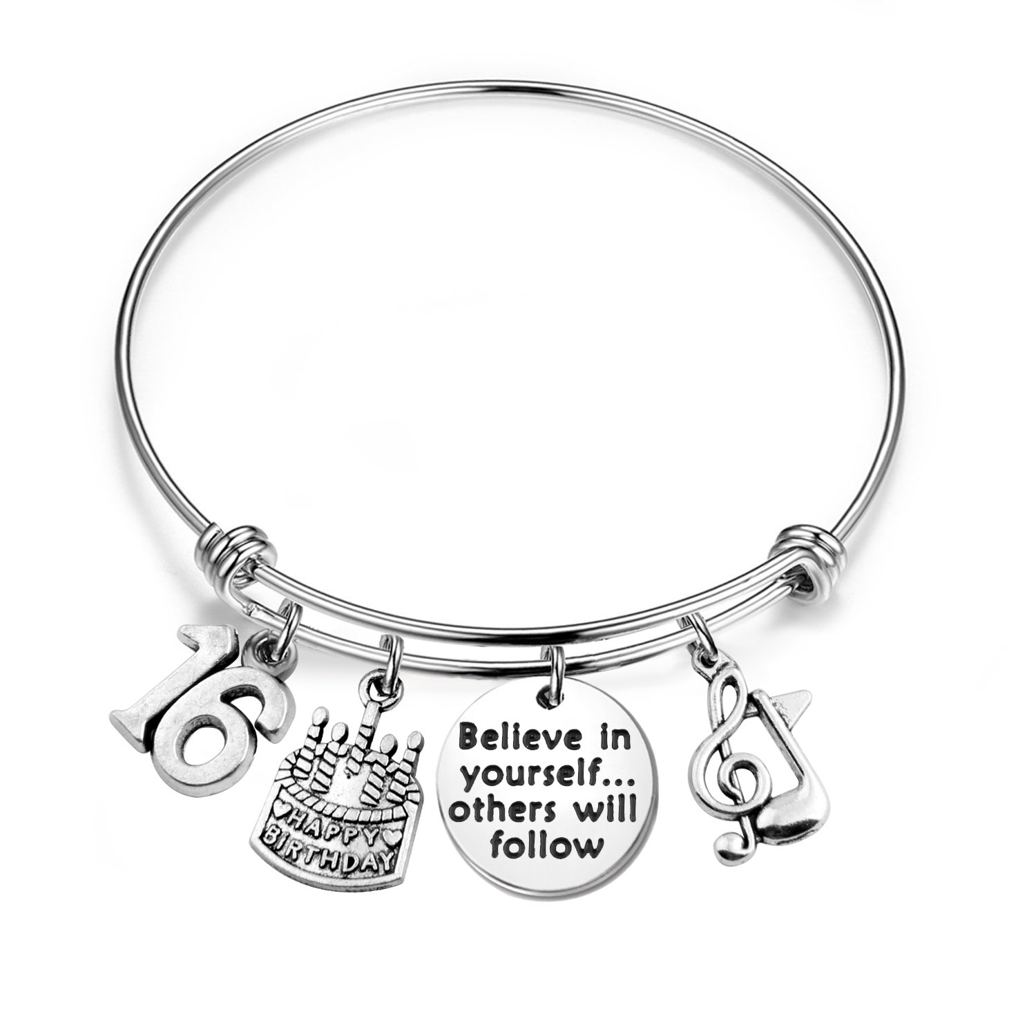 MAOFAED 21st birthday bracelet 13th Sweet 16 18th Inspiration Birthday Gift Believe in yourself Anniversary Jewelry (B-16th)