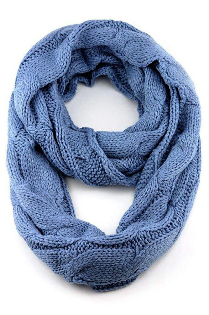 ScarvesMe CC 3pc Set Trendy Warm Chunky Soft Stretch Cable Knit Beanie Scarves Gloves Set (Denim) by ScarvesMe (Image #4)