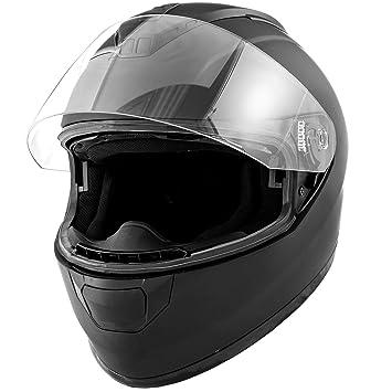 Dot motocicleta casco Full Face Koi mate negro w/visera – Adulto pequeño