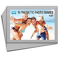 Shot2go Pack of 10 Magnetic Photo Fridge Frame Pockets Silver 4x6
