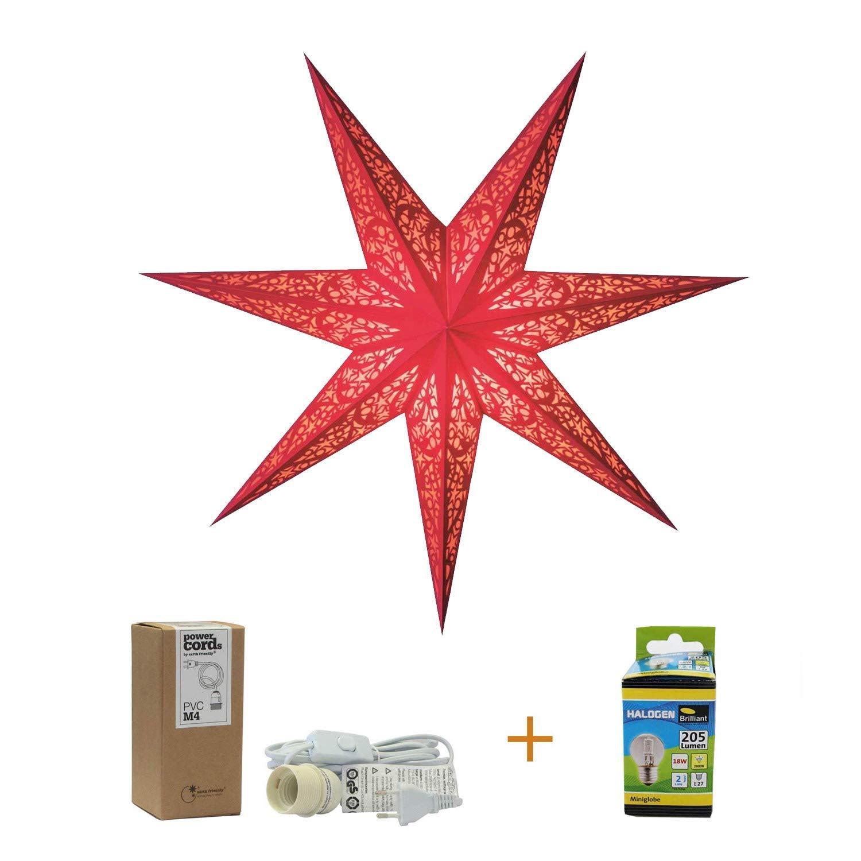 Papierstern rot |'Lux Red' 60cm - Weihnachtsstern rot mit Kabel WEIß oder SCHWARZ und GLÜHBIRNE | Weihnachtsdeko zum Aufhängen