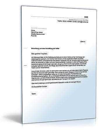 Anschreiben Bewerbung Helfer Word Dokument Download Amazonde