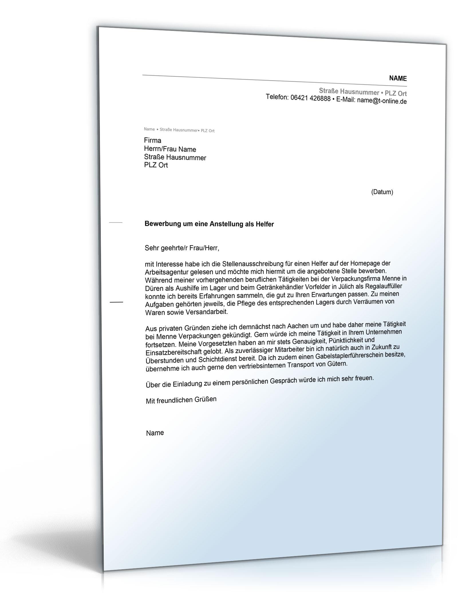Anschreiben Bewerbung Helfer [Word Dokument] [Download]: Amazon.de: Software