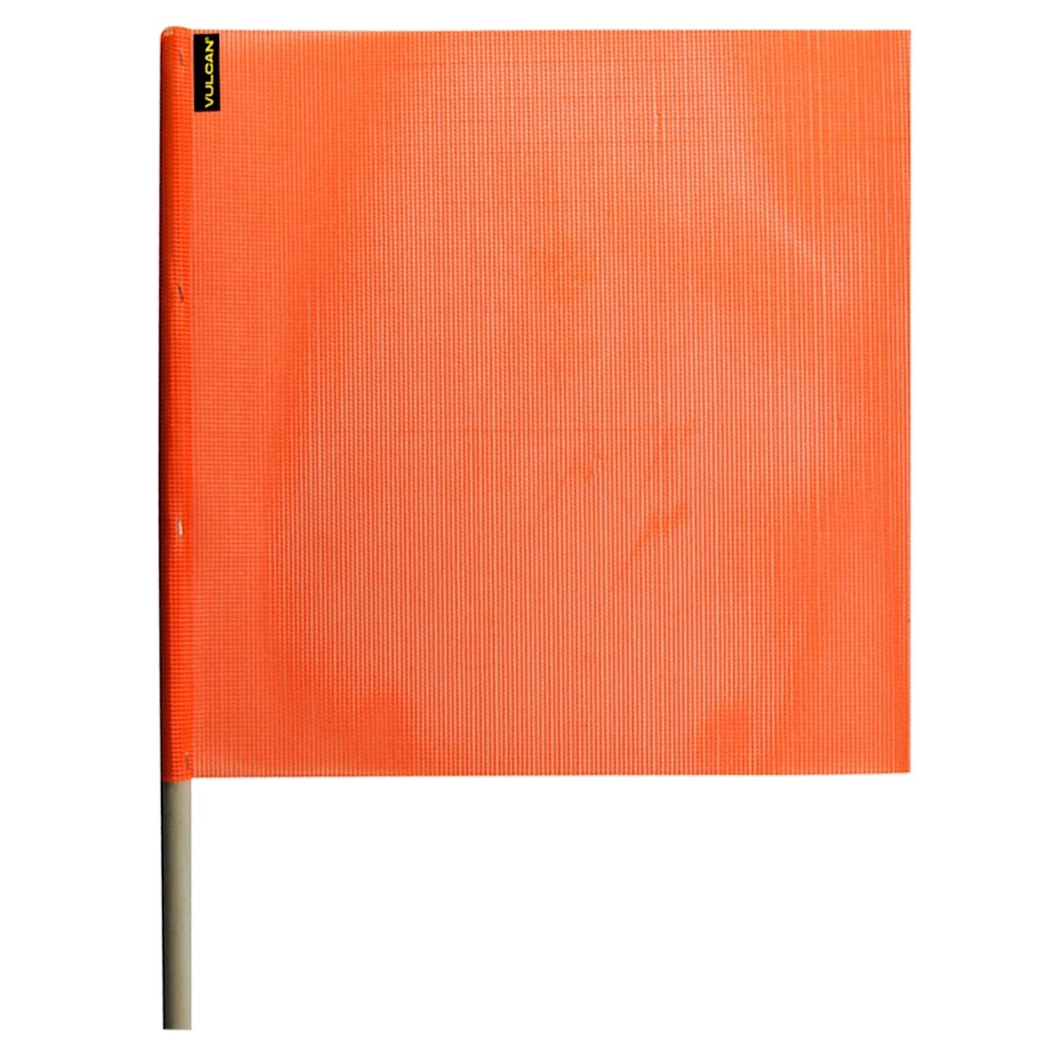 Vulcan Brands Bright Orange Safety Flag with Dowel for Oversized and Wide Loads 18 x 18 - Vinyl Coated Nylon Mesh Construction - 4 Pack