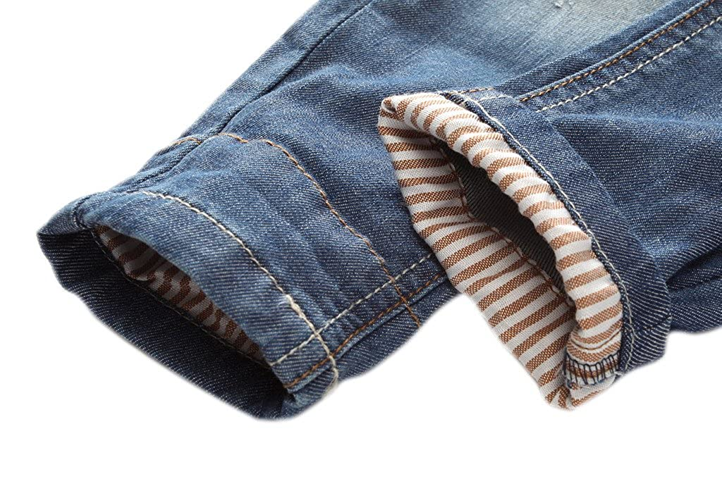 Coodebear Boys 100/% Cotton Denim Trousers Striped Bottom Casual Jeans Pants