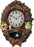 となりのトトロ メロディ 掛け時計 アナログ M429 トトロ のテーマ曲入り 木 茶 リズム時計 4MJ429-M06