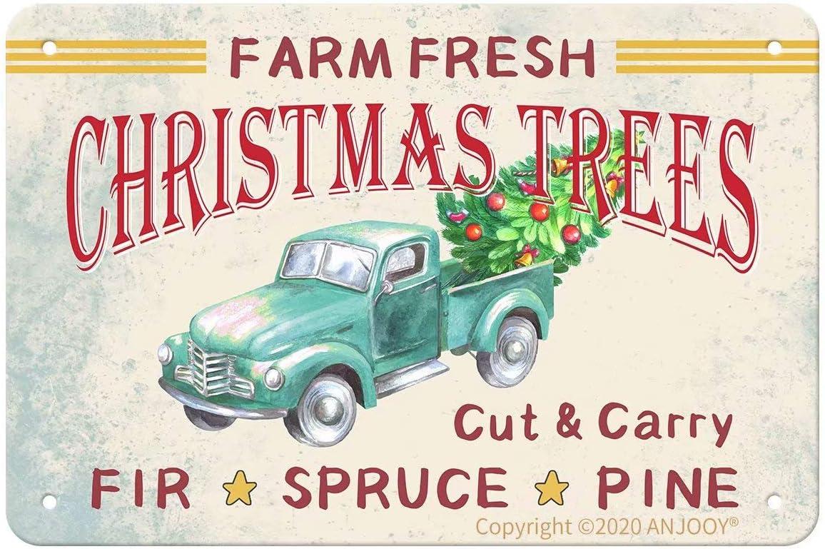 "ANJOOY Tin Signs Vintage - Farm Fresh Christmas Trees - Metal Sign for Bedroom Cafe Home Bar Pub Coffee Beer Kitchen Bathroom Door Garden Funny Wall Decor Art 8""x12"""