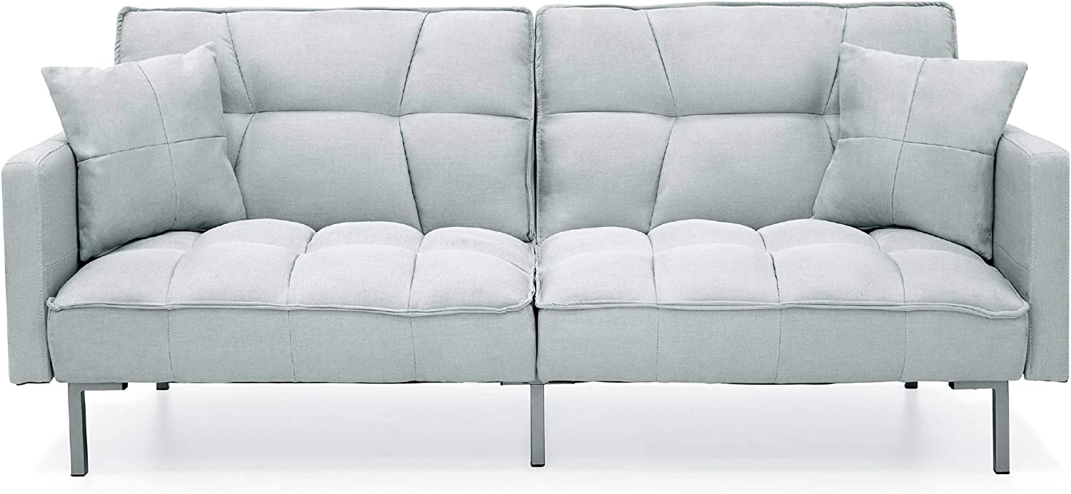Best Choice Products Convertible Linen Fabric Tufted Split-Back Plush Futon Sofa Furniture for Living Room, Apartment w/ 2 Pillows, Wood Frame, Metal Legs - Light Gray