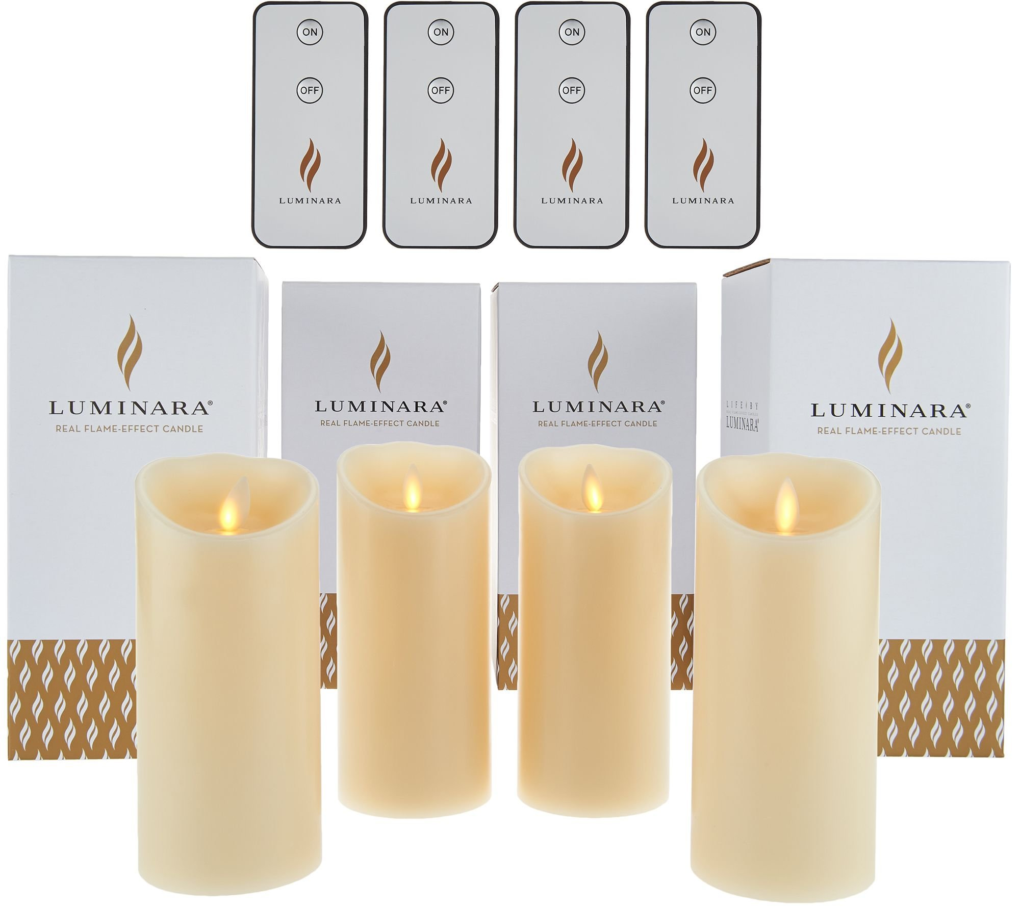 Set of 4 Luminara 6'' Flameless Unscented Candles with 4 Remotes (Ivory) by Luminara