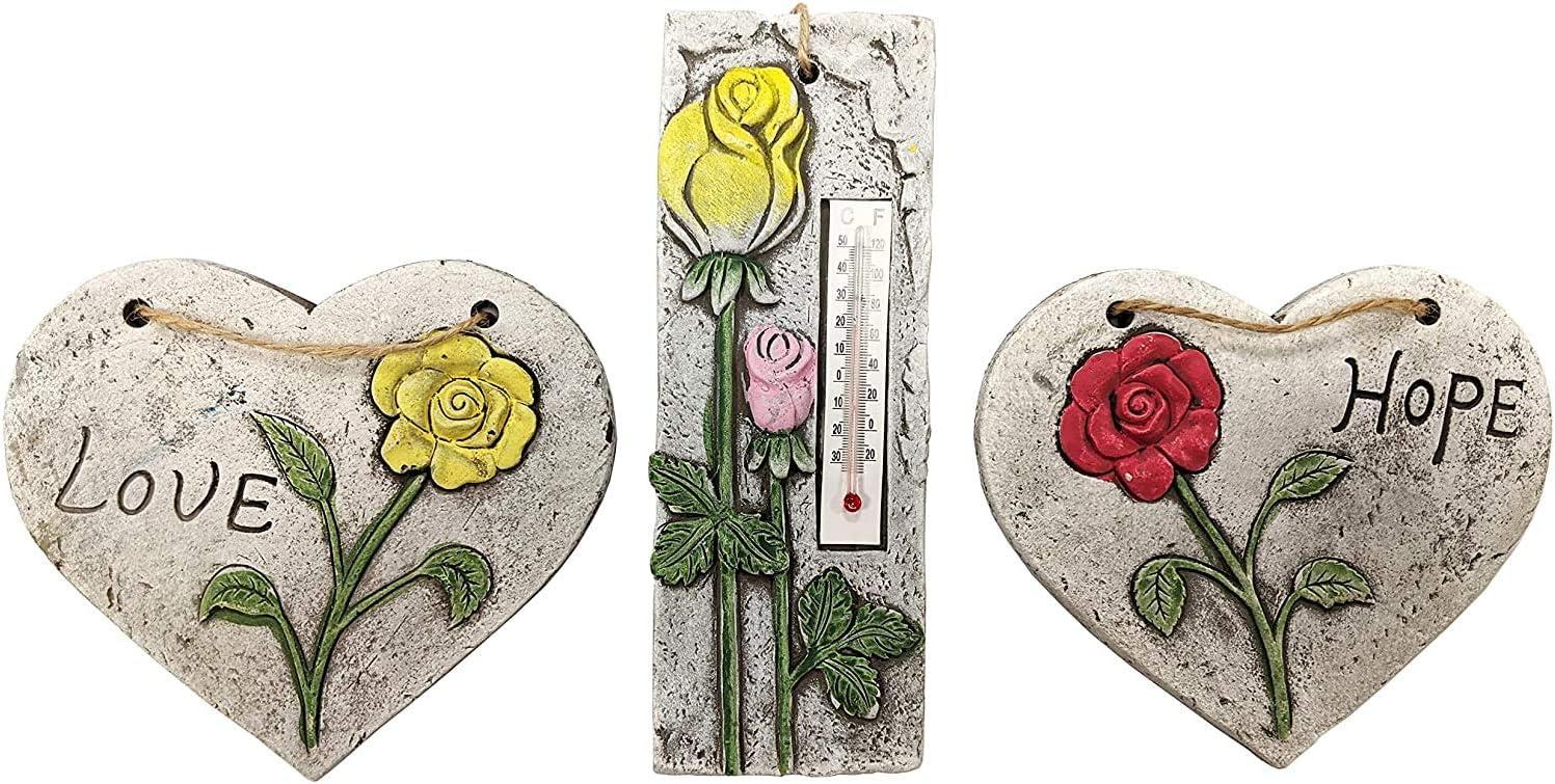 HomestreetUK Sweet Sentiments - Juego de decoración de jardín con un termómetro de piedra y 2 signos de corazón colgantes de amor, esperanza, rosas en caja de regalo